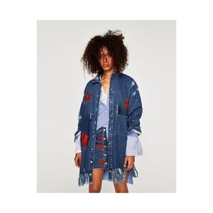 Zara denim duster coat with embroidered roses